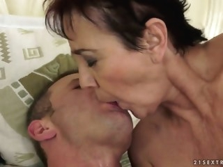 An elderly couple has some raunchy ass sex brunette hardcore
