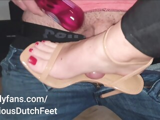 Shoejob Nude Heels Red Toes amateur cumshot